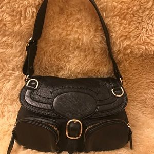 Burberry Bags - BURBERRY Black Pebbled Leather Shoulder Bag